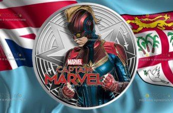 Фиджи монета 1 доллар Капитан Марвел