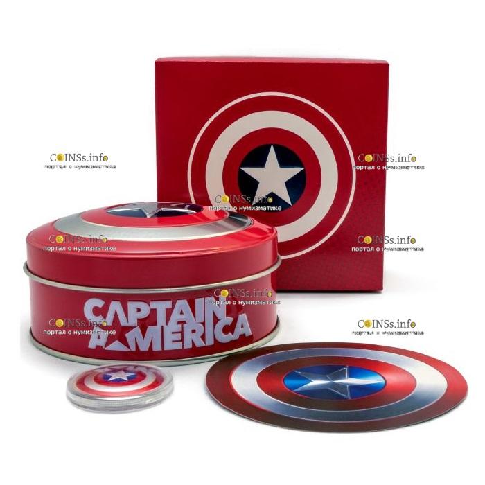 Фиджи монетау 1 доллар Капитан Америка, подарочная упаковка