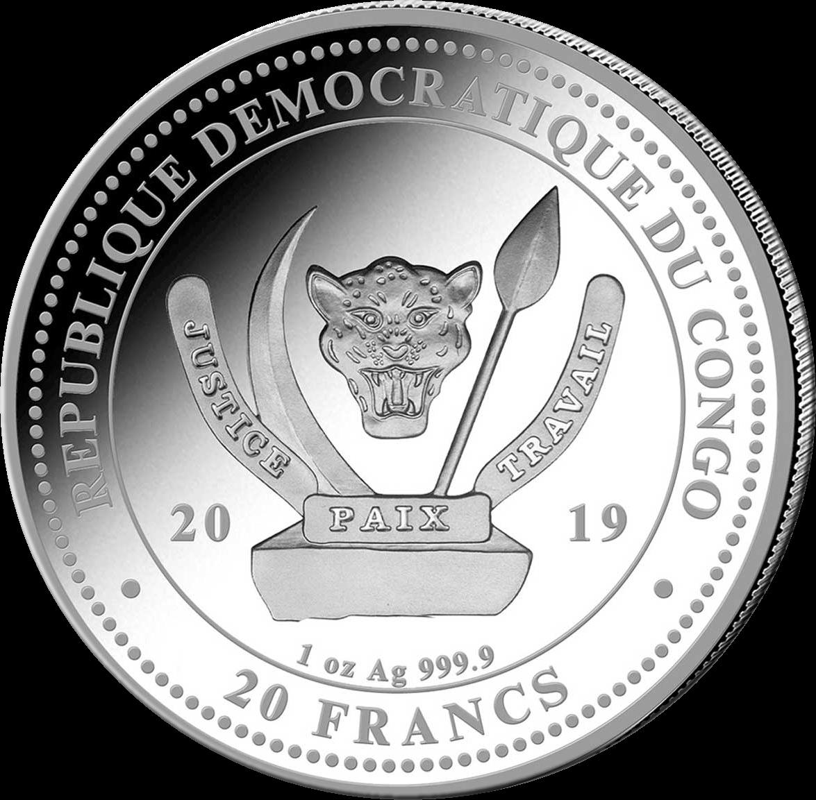 Конго монета 20 франков Жираф, аверс