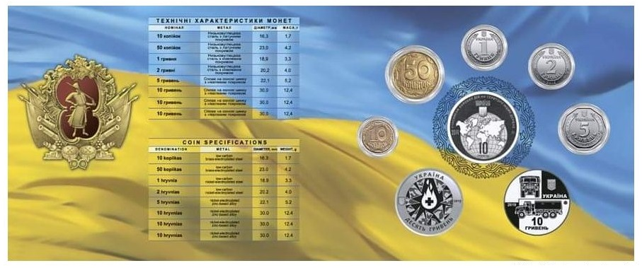 набор памятных монет Украины - Долг, мужество, память, реверс