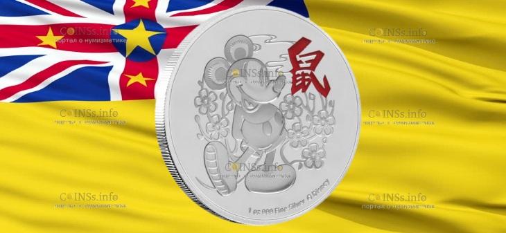 Ниуэ монета 2 доллара Год Мыши - Микки Маус