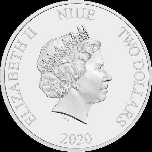 Ниуэ монета 2 доллара Год Мыши - Микки Маус, аверс