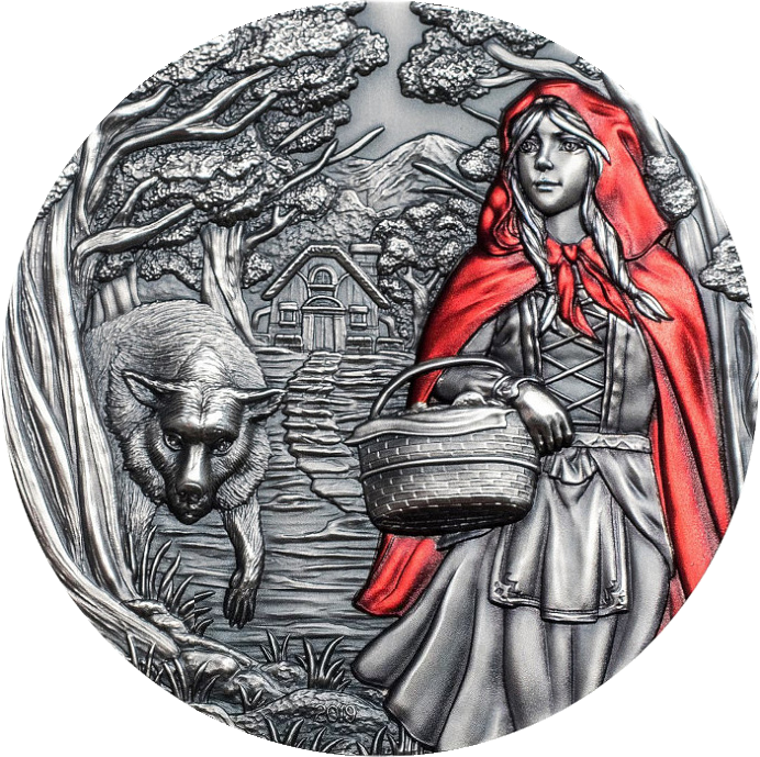 Острова Кука монета 20 долларов Красная Шапочка, реверс