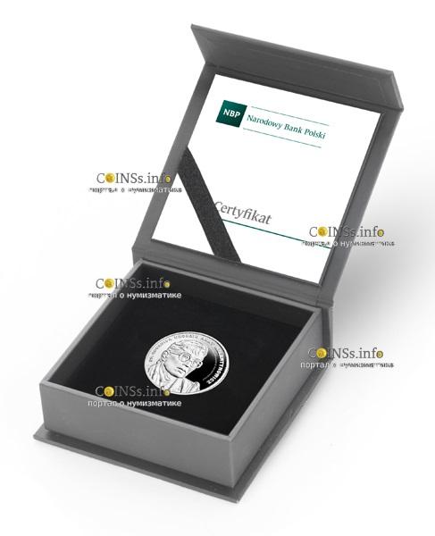 Польша монета 10 злотых Анна Валентынович, подарочная упаковка