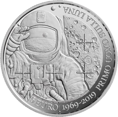 Сан-Марино монета 5 евро 50 лет со дня первой посадки человека на Луну, реверс