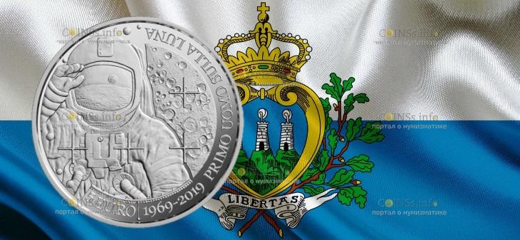 Сан-Марино монета 5 евро 50 лет со дня первой посадки человека на Луну