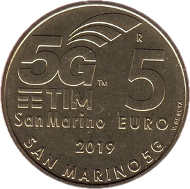 Сан-Марино монета 5 евро Сеть 5G, реверс