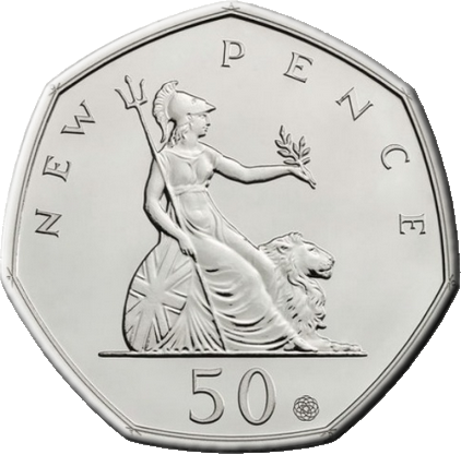 Великобритания монета 50 пенсов 50-летие первого выпуска знаменитой семигранной монеты, медно-никелевый сплав