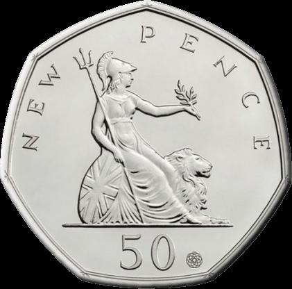 Великобритания монета 50 пенсов 50-летие первого выпуска знаменитой семигранной монеты, серебро