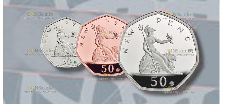 Великобритания монета 50 пенсов 50-летие первого выпуска знаменитой семигранной монеты