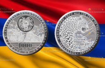 Армения монета 1000 драмов Год Кавказского леопарда