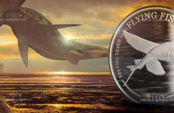 Барбадос монета 1 доллар Летучие рыбы