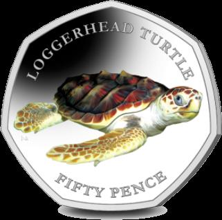 Британские территории в Индийском океане монета 50 пенсов Красноухая черепаха, реверс