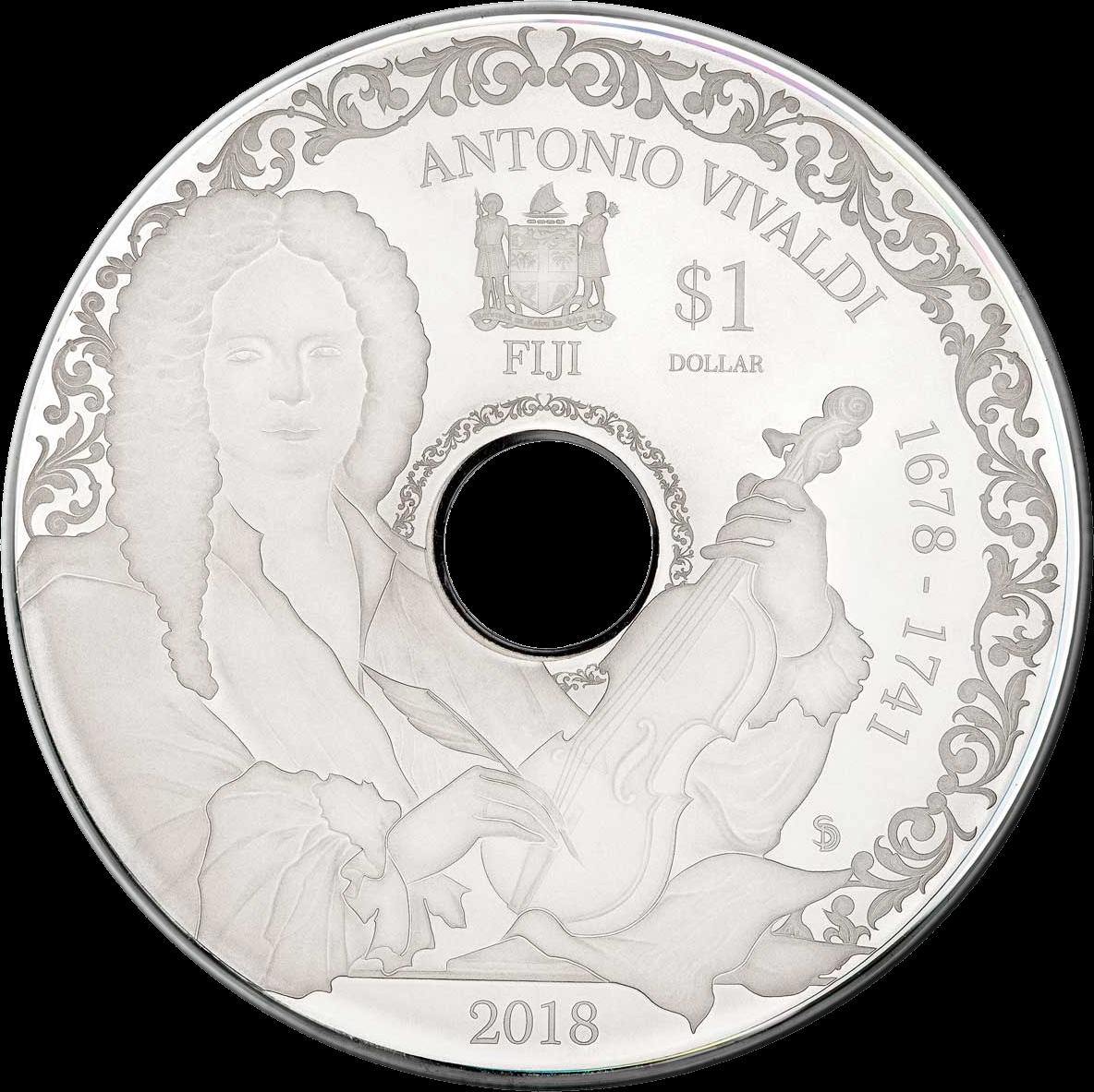 Фиджи монета 1 доллар Антонио Вивальди, аверс
