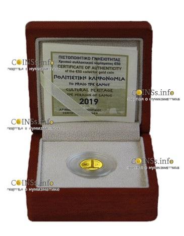 Греция монета 50 евро Храм Геры, подарочная упаковка