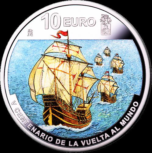 Испания монета 10 евро 1-е кругосветное путешествие, подарочная упаковка, аверс