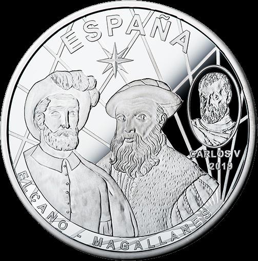 Испания монета 10 евро 1-е кругосветное путешествие, подарочная упаковка, реверс