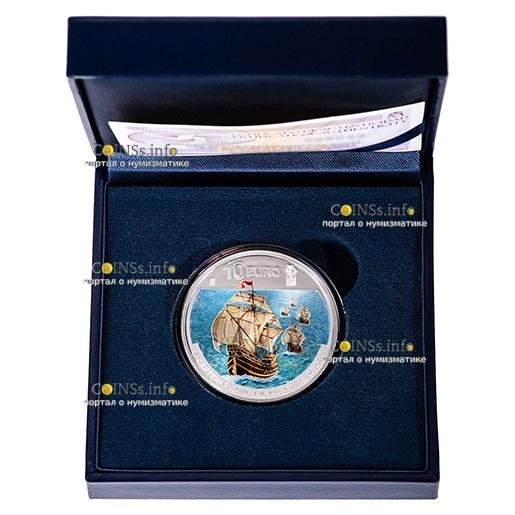 Испания монета 10 евро 1-е кругосветное путешествие, подарочная упаковка