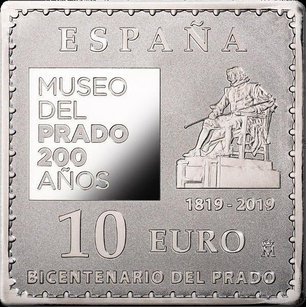 Испания монета 10 евро 200-летие музея прадо квадратная, аверс