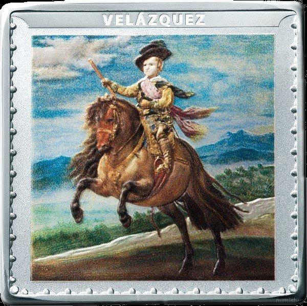 Испания монета 10 евро Конный портрет принца Бальтасара Карлоса Диего Родригес де Сильва Веласкес, реверс