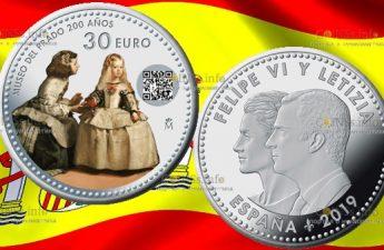 Испания монета 30 евро 200 лет музею Прадо