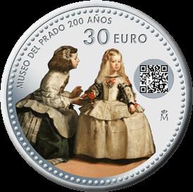 Испания монета 30 евро 200 лет музею Прадо, реверс