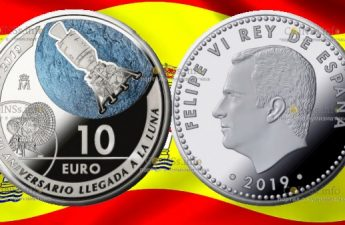 Испания монета 10 евро 50-летие полета человека на Луну