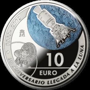 Испания монетау 10 евро 50-летие полета человека на Луну, реверс