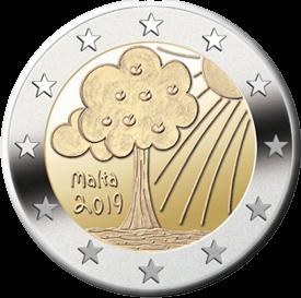 Мальта монета 2 евро Природа и окружающая среда, реверс
