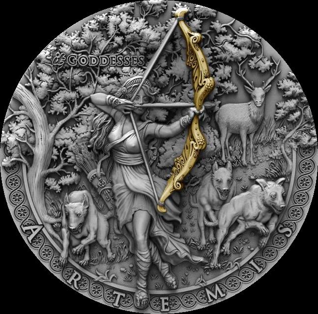 Ниуэ монета 2 доллара Артемида, реверс
