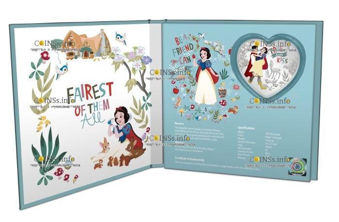 Ниуэ монета 2 доллара Disney Love 2020, подарочная упаковка