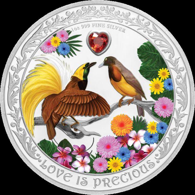 Ниуэ монета 2 доллара Любовь Драгоценна - Райские Птицы, реверс