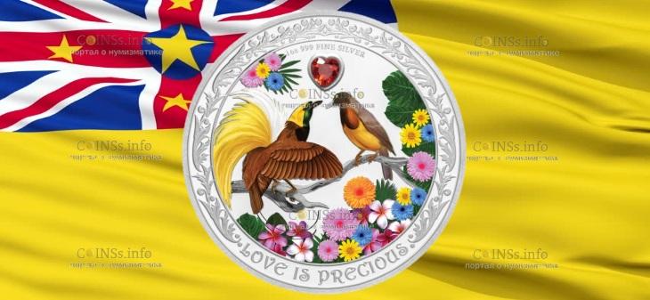 Ниуэ монета 2 доллара Любовь Драгоценна - Райские Птицы