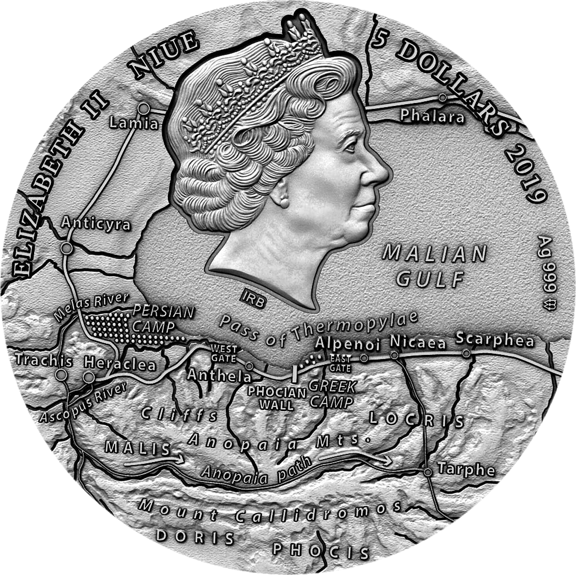 Ниуэ монета 5 долларов Леонидас, аверс