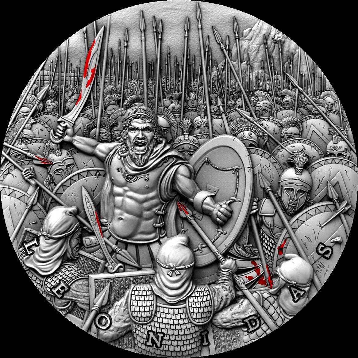 Ниуэ монета 5 долларов Леонидас, реверс
