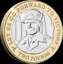 Остров Мэн монета 2 фунта Фельдмаршал Бернард Монтгомери, реверс