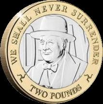 Остров Мэн монета 2 фунта Уинстон Черчиль, реверс