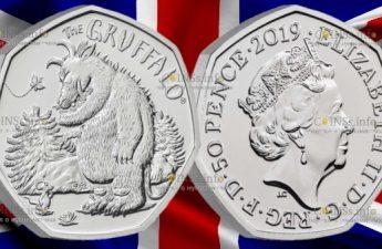 Великобритания монета 50 пенсов Груффало и мышонок