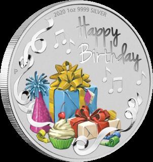 Австралия монета 1 доллар Поздравляю с Днем Рождения, реверс