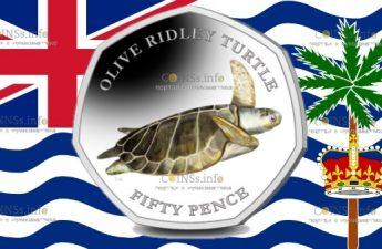 Британские территории в Индийском океане монета 50 пенсов Оливковая черепаха