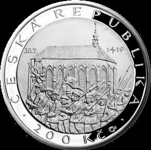 Чехия монета 200 крон Первая Пражская дефенестрация, аверс