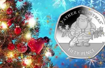Гибралтар монета номиналом 50 пенсов Дед Мороз
