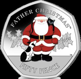 Гибралтар монета номиналом 50 пенсов Дед Мороз, цвет, реверс