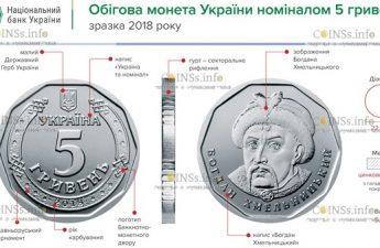 ходовая монета 5 гривен