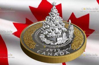 Канада монета 50 долларов Рождественский Поезд