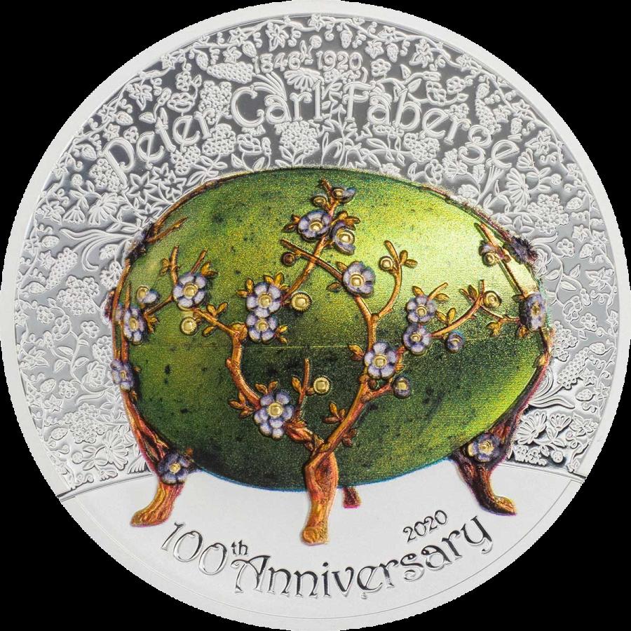 Монголия монета 1 000 тугриков Зеленое яйцо Фаберже, реверс