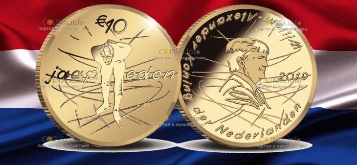 Нидерланды монета 10 евро Яап Иден