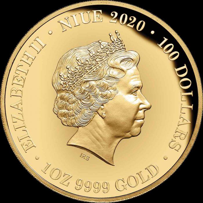 Ниуэ монета 100 долларов Тасманийский Дьявол, аверс