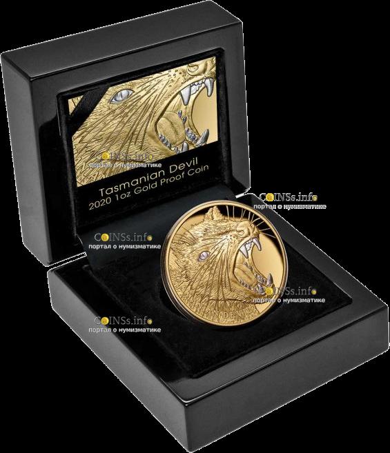 Ниуэ монета 100 долларов Тасманийский Дьявол, подарочная упаковка