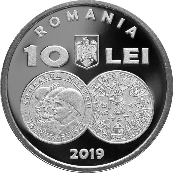 Румыния монета 10 лей 75 годовщина освобождения Северной Трансильвании, аверс